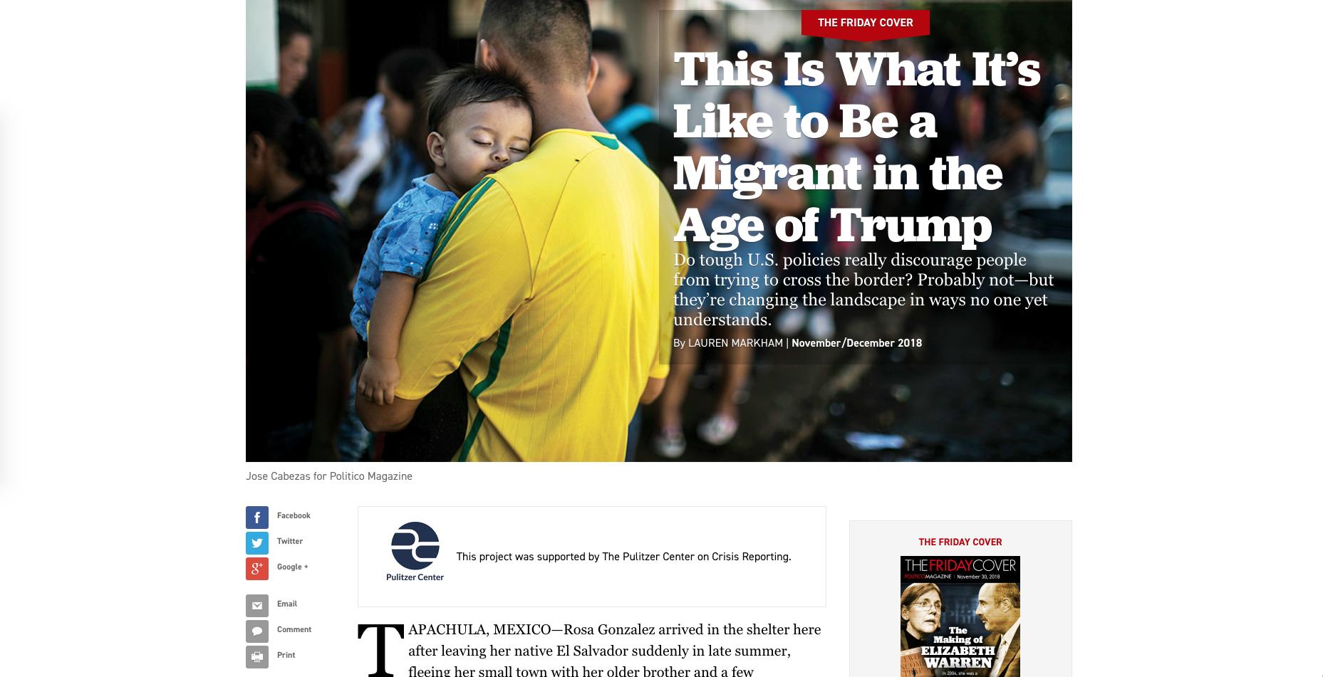 Politico credit for Pulitzer Center support.