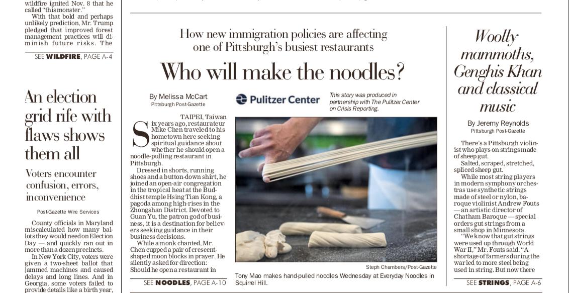 Pittsburgh Post-Gazette credit for Pulitzer Center support.