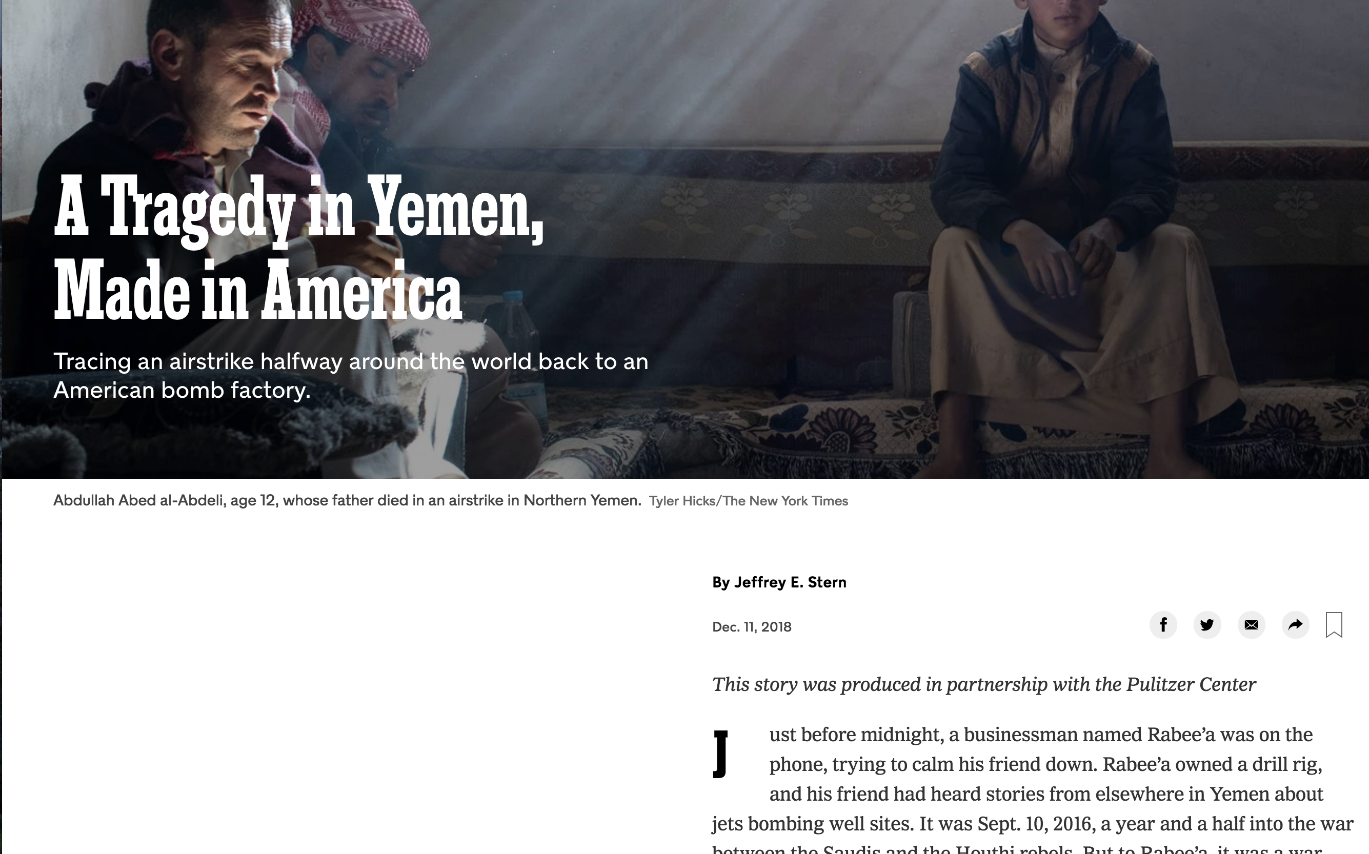 The New York Times Magazine credit for Pulitzer Center support